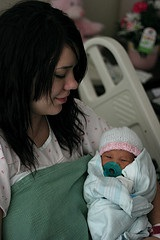 mother with baby in hospital