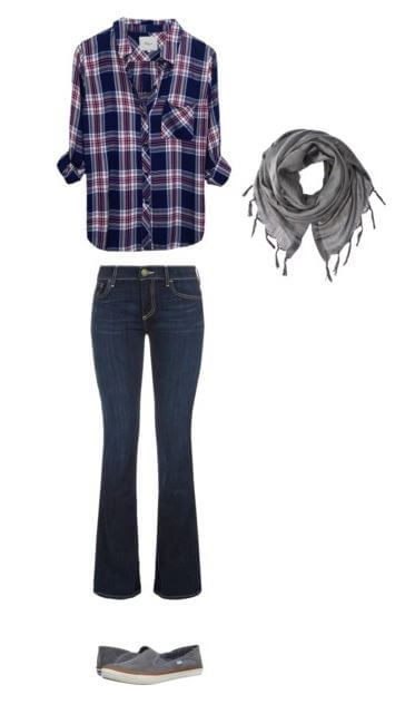 easy-fall-outfit-idea-for-moms-plaid-button-down-jeans-scarf-slip-ons