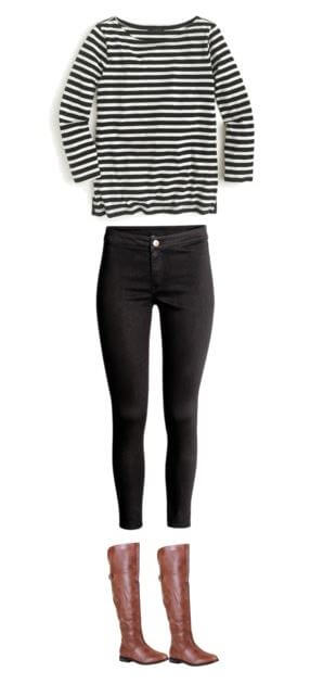 easy-fall-outfit-idea-for-moms-striped-tee-black-skinny-jeans-riding-boots