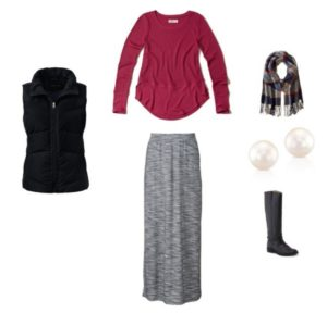 outfit-3-long-sleeve-tee-puffer-vest-maxi-skirt-plaid-scarf-pearl-studs-riding-boots