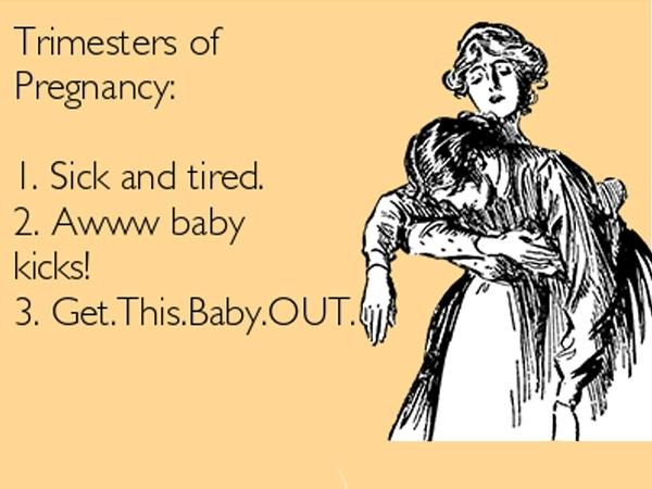 Pregnancy humor about pregnancy trimester