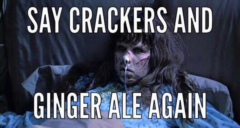 Crackers and Ginger Ale Morning Sickness Humor meme