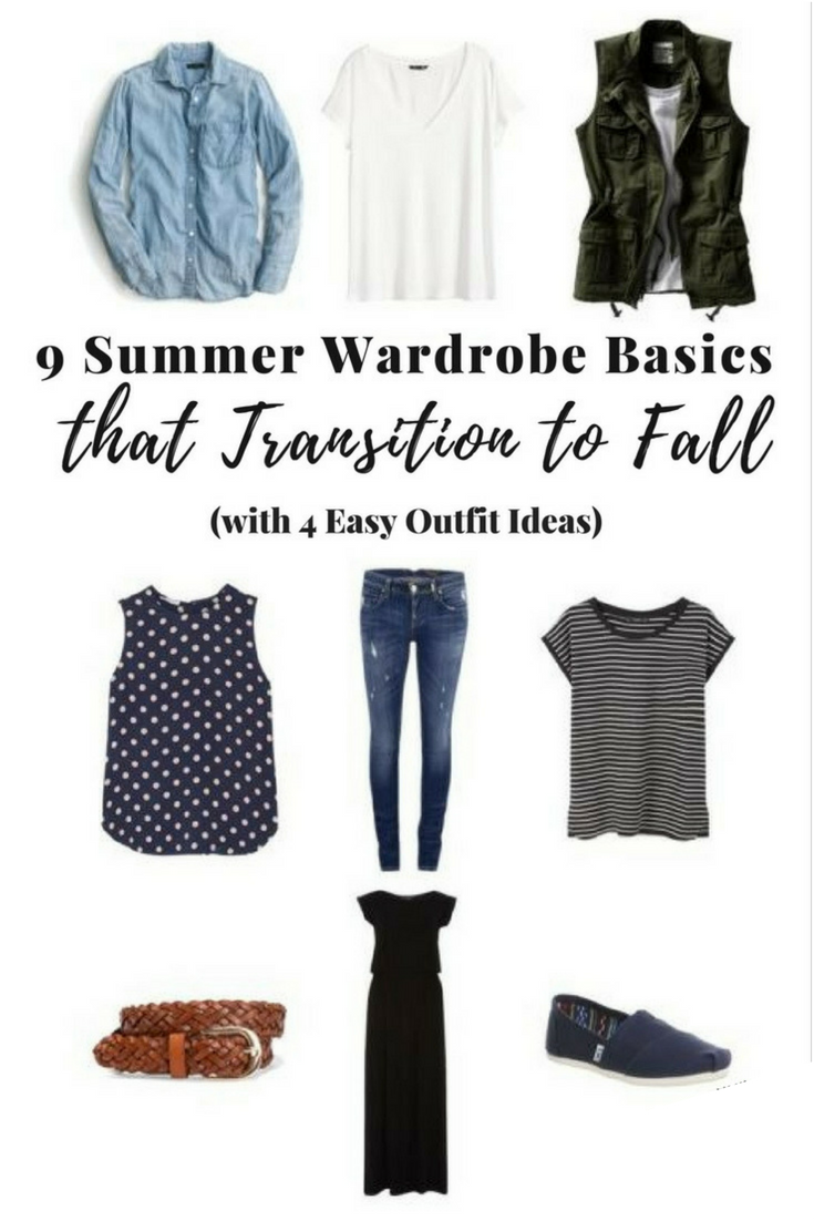 Ready to transition to fall too? Here's an easy easy way to go from summer to fall and not break the bank. Wardrobe Basics that Transition to Fall #falloutfits #clothes #wardrobe #outfitideas #style #styleideas