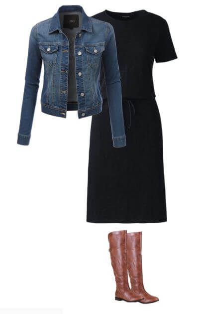 easy-fall-outfit-idea-for-moms-cotton-dress-denim-jacket-boots- Fall Outfits for Moms