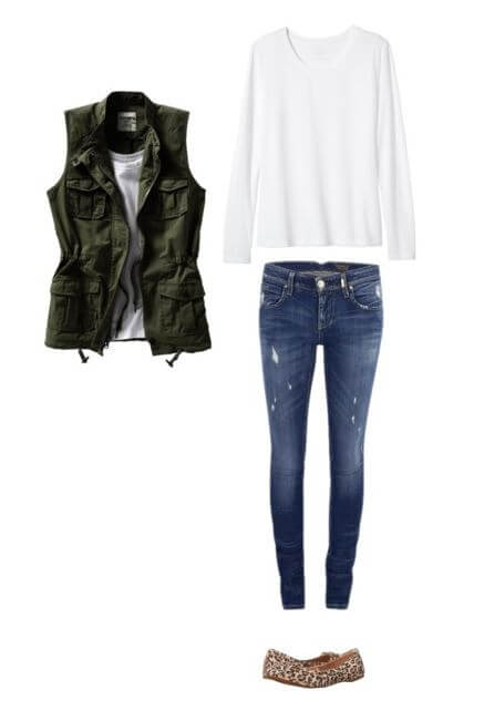 easy-fall-outfit-idea-for-moms-long-sleeve-tee-jeans-vest-leopard-flats-Fall Outfits for Moms